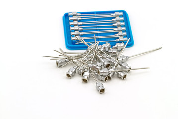 Stack of reuse iron needle No.18 G for drug needle on white back
