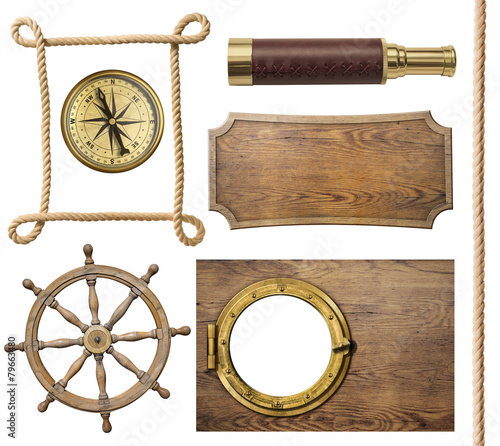 Foto op Aluminium Retro nautical objects rope, compass, steering wheel, signboard