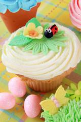 Easter ladybug cupcake