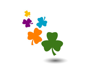 colorful celtic clover flying