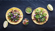 top down photo of two authentic mexican tacos - 79664816