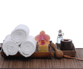 health spa setting on wicker mat
