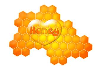 Honigwabe mit Herz / Honey