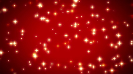 Warm Moving Swirling Abstract Stars on Red Background Loop 3