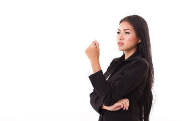 confident, smart, professional asian businesswoman looking up at