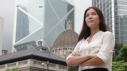 Asian business woman confident outdoor, Hong Kong
