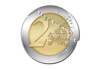 Euro Münze / 2 Euro / Zerbrechen / Broken