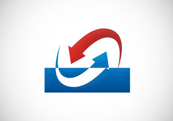 stock exchange arrow reverse vector logo