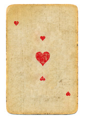 old playing card ace of hearts paper background