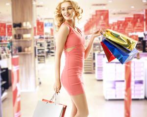 Beautiful woman in the shopping mall