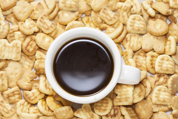 Tasty biscuits on background with coffee cup