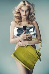 Alluring woman holding luxury handbags