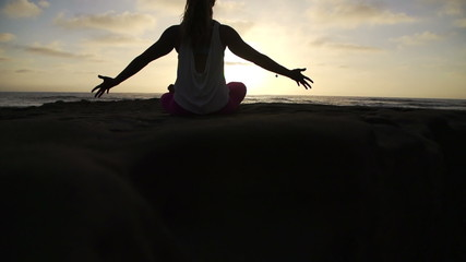 Slow Motion Happy Woman Doing Success Yoga  Pose At Sunset