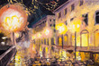 night in paris, street lamp, colorful oil painting - 79670048