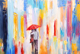 Fototapety couple is walking in the rain under an umbrella, abstract colorf