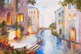 Oil painting - canal in Venice, Italy, modern impressionism, col