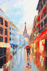 couple walking on the streets of Paris against the backdrop of t