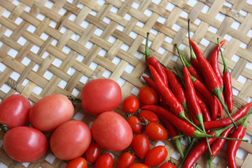 red chili and tomatoes