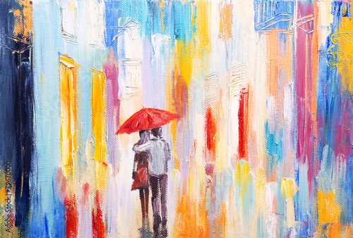 Zdjęcia na płótnie, fototapety na wymiar, obrazy na ścianę : couple is walking in the rain under an umbrella, abstract colorf