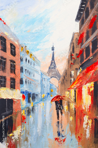 Tuinposter Openbaar geb. couple walking on the streets of Paris against the backdrop of t