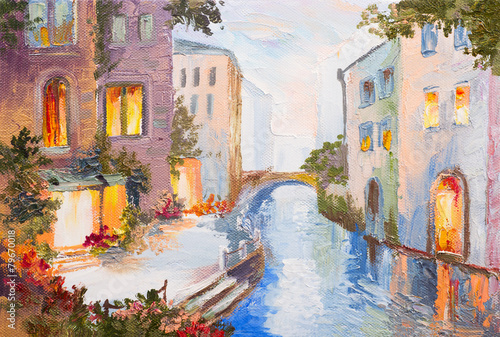 Deurstickers Brug Oil painting - canal in Venice, Italy, modern impressionism, col