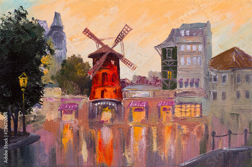Tuinposter Artistiek mon. Oil painting cityscape - Moulin rouge, Paris, France