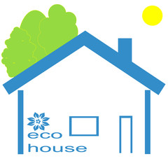 Image of blue eco house, vector