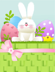 Easter background with bunny and chicken