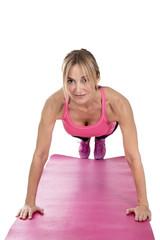 Nice woman doing push-ups