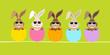 5 Cute Easter Rabbits Sunglasses Eggshells Green