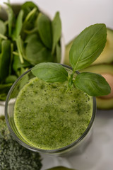 Blended smoothie with ingredients selective focus