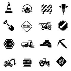 Road Repair Icons Black