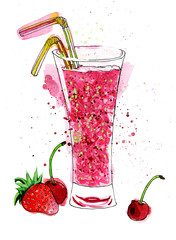 Bright pink watercolor painting of refreshing glass of fruit