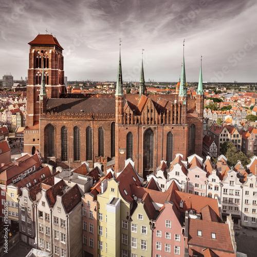 Zdjęcia na płótnie, fototapety, obrazy : Church of the Blessed Virgin Mary in Gdansk, Poland, toned imag