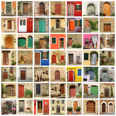 old door wallpaper made of images from Italy