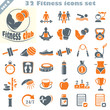 Fitness icons set, vector set of 32 fitness signs.