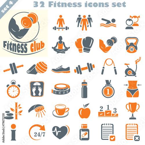 Plexiglas Sportwinkel Fitness icons set, vector set of 32 fitness signs.