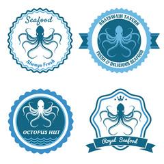 Octopus sea food logo or badge set