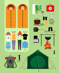 Camping concept. Boy and girl in sleeping bags next to tent with