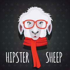Sheep hipster dressed in red scarf