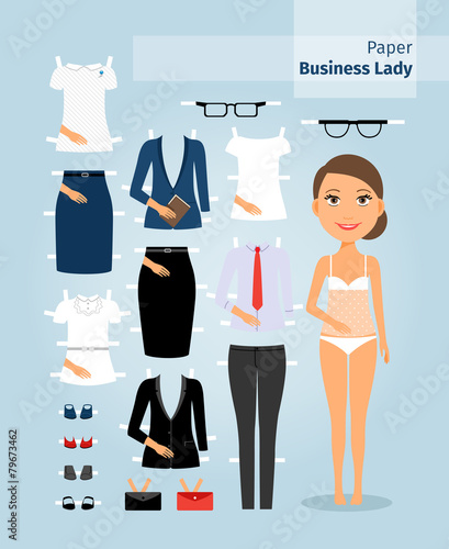 Business lady paper doll. Cute girl in office clothes - 79673462
