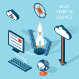 Cartooned Easy Start-up Launch Infographic Design poster