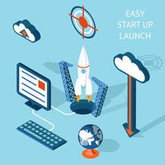 Cartooned Easy Start-up Launch Infographic Design