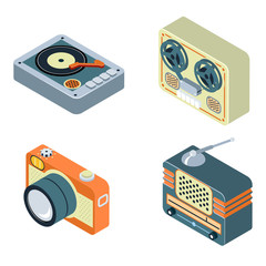 Retro media. Radio, reel tape recorder, turntable