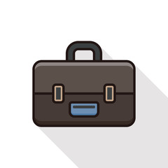 briefcase line icon with long shadow