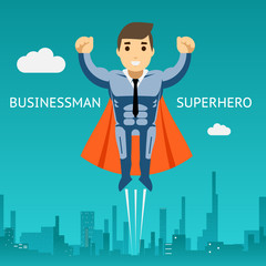 Cartooned Superhero Businessman Graphic Design