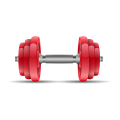 Illustration of a red dumbbell on a white background