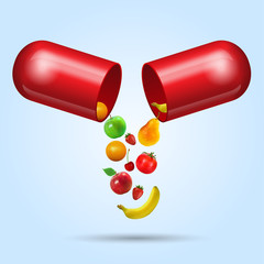 illustration of fruits coming out from vitamin capsule