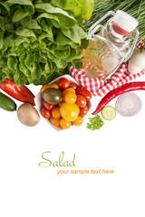 Ernährung, Salatzutaten und Kräuterdressing mit Textfreiraum
