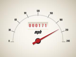 Speedometer on white background
